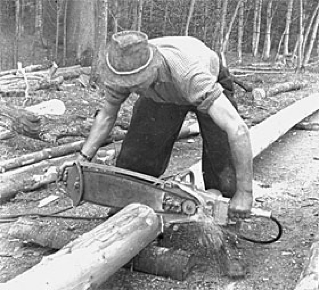 One of the early chainsaw ever invented