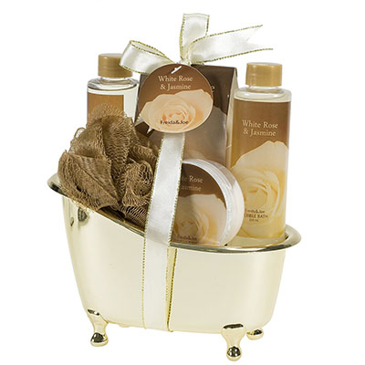 Best Vday Gifts for Her No.5: White Rose Jasmine Gold Tub Spa Bath Gift Set