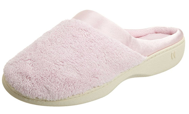 Best Vday Gifts for Her No.14: Isotoner Women's Microterry PillowStep Satin Cuff Clog Slippers