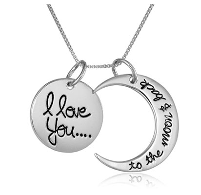 "Best Vday Gifts for Her No.7: Sterling Silver ""I love you to the moon and Back"" Pendant Necklace"