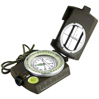 Compass with Map Measurer Distance Calculator - Great for Hiking, Camping, Motoring, Boating, Backpacking