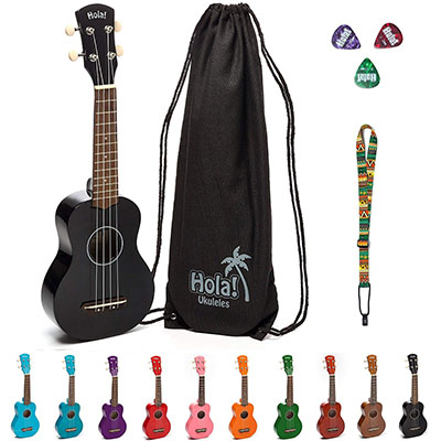 Hola Music HM-21BK Soprano Ukulele Bundle with Bag