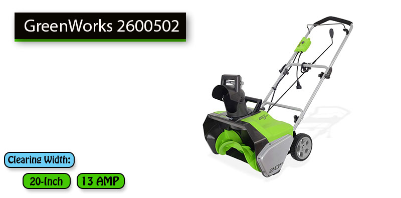 Best Electric Snow Blower No.1: GreenWorks 2600502 with price under 150 dollars